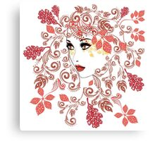 Autumn Girl with Floral 2 Canvas Print