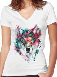 Wolf II Women's Fitted V-Neck T-Shirt