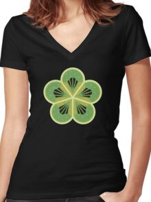 Kiwi Floral Pattern Women's Fitted V-Neck T-Shirt