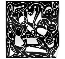 Playful abstract art - black and white Poster