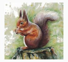 Nutty Squirrel Watercolor Art Kids Clothes