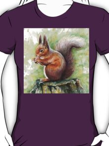 Cute Squirrel Watercolor Painting T-Shirt