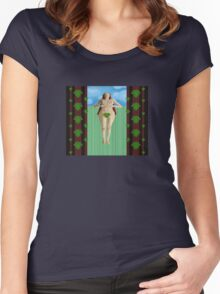 Lying on grass Women's Fitted Scoop T-Shirt