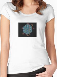 Quantum Sapphire Cube Women's Fitted Scoop T-Shirt