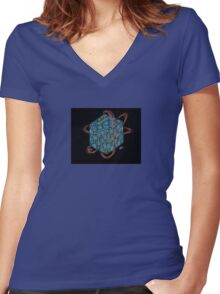 Quantum Sapphire Cube Women's Fitted V-Neck T-Shirt