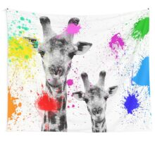 SAFARI COLORS POP - GIRAFFES White Edition Wall Tapestry