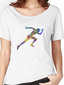 Man running sprinting jogging Women's Relaxed Fit T-Shirt