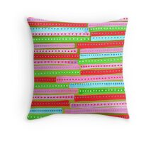 Stripes with olive background Throw Pillow