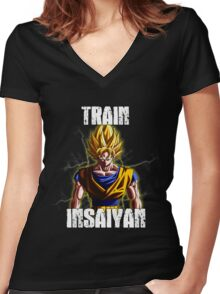 Goku Train Insaiyan - Dragonball Z Women's Fitted V-Neck T-Shirt