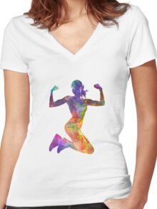 Woman runner jogger jumping powerful Women's Fitted V-Neck T-Shirt