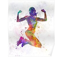 Woman runner jogger jumping powerful Poster