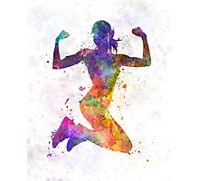 Woman runner jogger jumping powerful Photographic Print