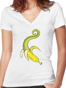 Banana Squid Aqua Women's Fitted V-Neck T-Shirt