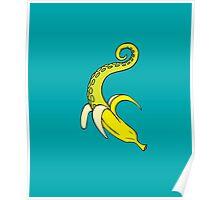 Banana Squid Aqua Poster