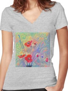 #Deepdreamed Poppies Women's Fitted V-Neck T-Shirt