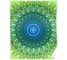 Delicate mandala in light green and blue colors Poster
