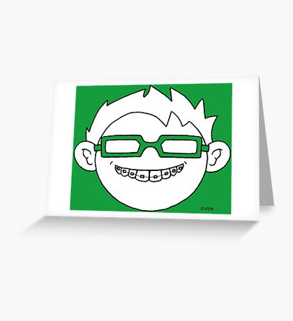 Superhero and nerd with braces and customizable glasses Greeting Card