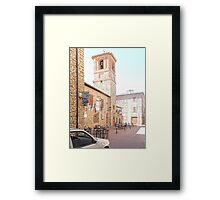 Central Square and Comune Building with Bell Tower Paciano Framed Print