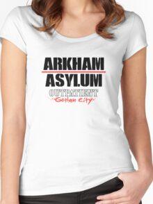 Arkham Asylum - White Women's Fitted Scoop T-Shirt