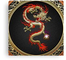 Golden Chinese Dragon Fucanglong on Black  Canvas Print