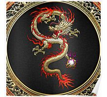Golden Chinese Dragon Fucanglong on Black  Poster