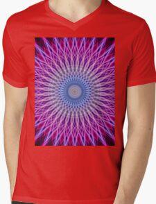 Mandala in light blue and pink colors Mens V-Neck T-Shirt