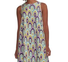 Totally Groovy Purple and Teal Circles Pattern A-Line Dress