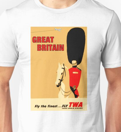 """""""TWA AIRLINES"""" Fly to Great Britain Advertising Print Unisex T-Shirt"""