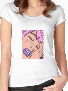 Pastel Hair Crying Comic Girl Women's Fitted Scoop T-Shirt