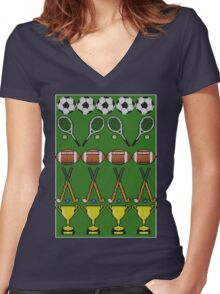 Sporty Knit Women's Fitted V-Neck T-Shirt