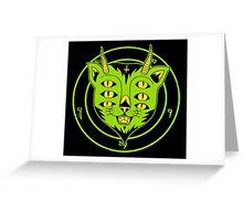 6xEyes Satanic Cat Greeting Card