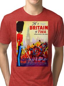 """TWA AIRLINES"" Fly to Britain Advertising Print Tri-blend T-Shirt"