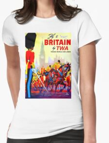 """TWA AIRLINES"" Fly to Britain Advertising Print Womens Fitted T-Shirt"