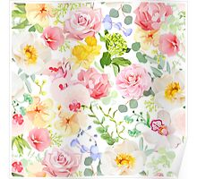 Multicolor floral seamless vector print with varied plants and flowers Poster