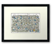 Illustrated map of Berlin-Mitte. Green Framed Print