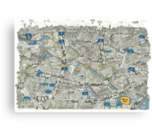 Illustrated map of Berlin-Mitte. Green Canvas Print