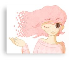Pixel Me Pink Canvas Print