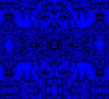 Kaleidoscope - Elephants - More Blue - Stamp Detail Sticker