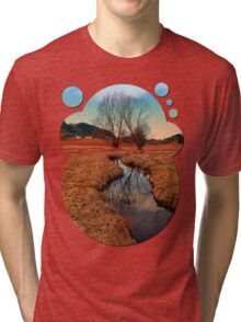 A stream, dry grass, reflections and trees | waterscape photography Tri-blend T-Shirt
