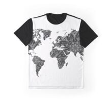 World Map Black and White Graphic T-Shirt