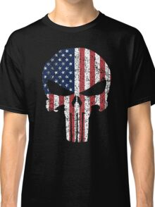 The Punisher Skull with American Flag Classic T-Shirt