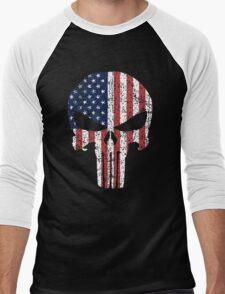 The Punisher Skull with American Flag Men's Baseball ¾ T-Shirt