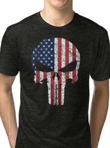 The Punisher Skull with American Flag Tri-blend T-Shirt