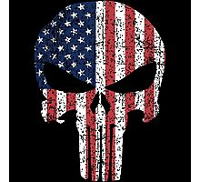 The Punisher Skull with American Flag Photographic Print