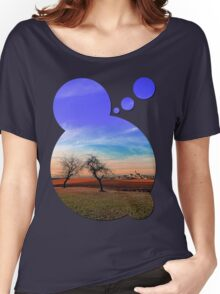Trees, sunset, clouds, panorama and village | landscape photography Women's Relaxed Fit T-Shirt