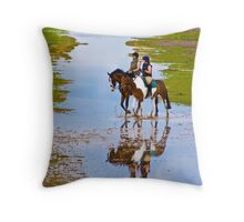 Horse Riding on the Beach - British Coast And Beach  Throw Pillow