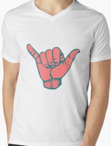 Hang Loose Hand Mens V-Neck T-Shirt