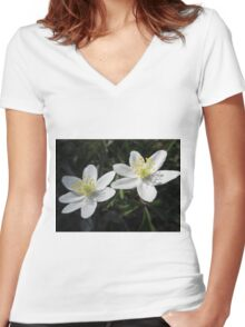 White Wood Anemones Women's Fitted V-Neck T-Shirt