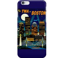 """TWA AIRLINES"" Fly to Boston Advertising Print iPhone Case/Skin"
