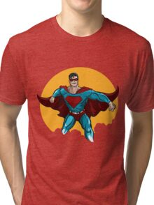 Standing Superhero Illustration Tri-blend T-Shirt